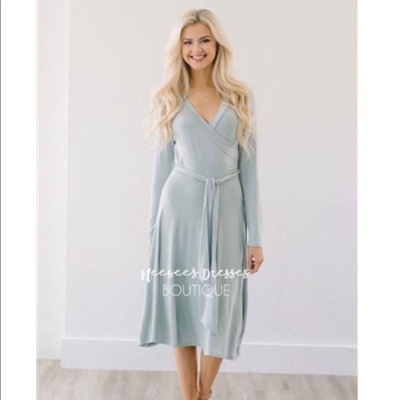 d0556b10aa0c Pinkblush Dresses | Modest Boutique Sage Green Faux Wrap Midi Dress ...